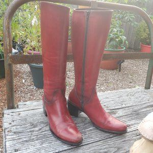 Tremp Made in Italy Red Leather Knee High Boots